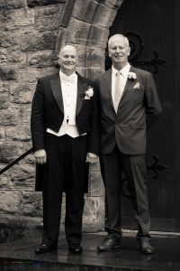 The Groom & Best Man, Wedding Photography of John & Gill at St James Church, Bishop Auckland