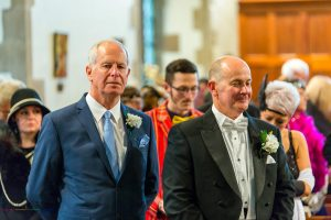 The Groom & Best Man at the wedding of John & Gill at St James Church, Bishop Auckland