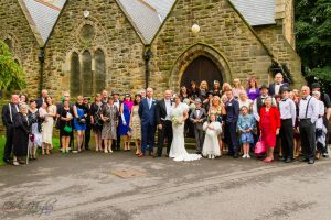 Group Photo at the wedding of John & Gill at St James Church, Bishop Auckland