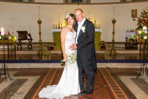 Bride & Groom at the wedding of John & Gill at St James Church, Bishop Auckland