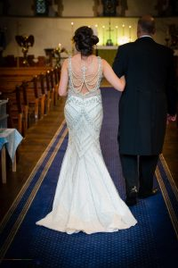 Wedding Dress design at the wedding of John & Gill at St James Church, Bishop Auckland