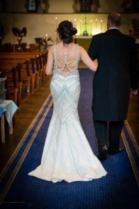 Wedding Dress design at the wedding of John & Gill at St James Church, Bishop Auckland