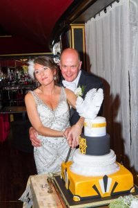 Cutting of the cake at the wedding of John & Gill at The Majestic, Darlington
