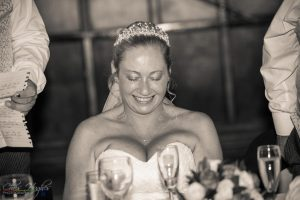 Emotional bride during speeches, Manor House Hotel, County Durham