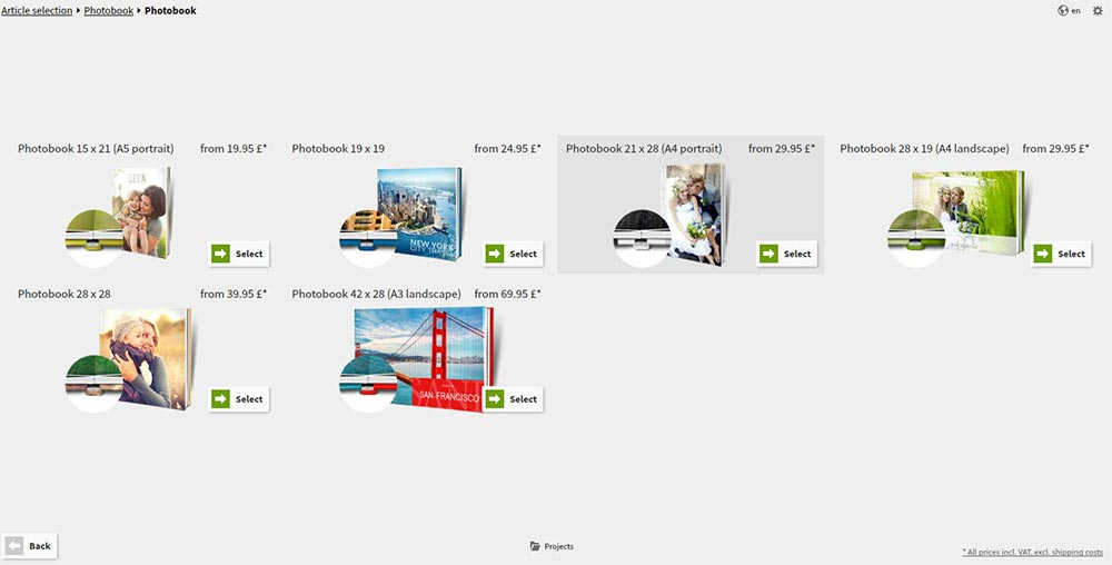 Saal Design Software - Photo Book Size Selection