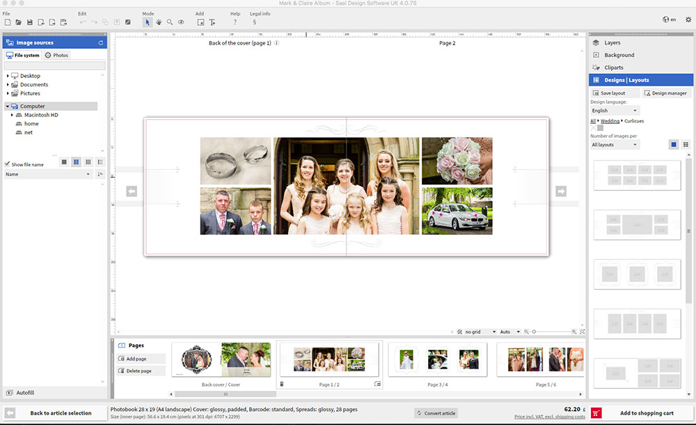 Saal Design Software - Photo Book - Chris Hughes Photography Bishop Auckland