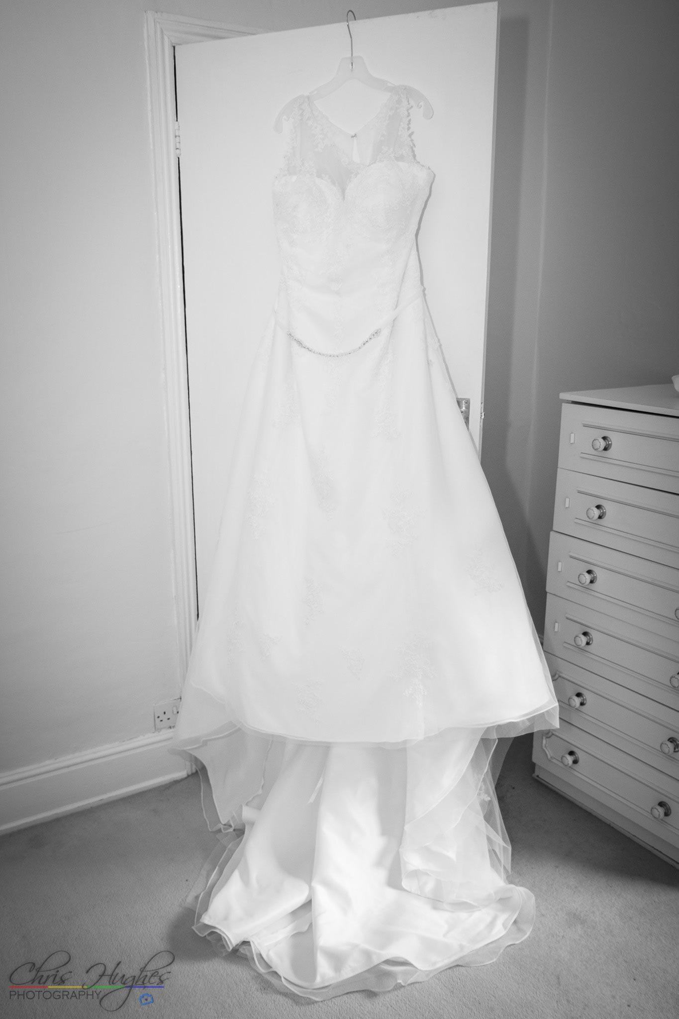 Wedding dress hung up, Paul & Faye Wedding Barnard Castle Registry Office