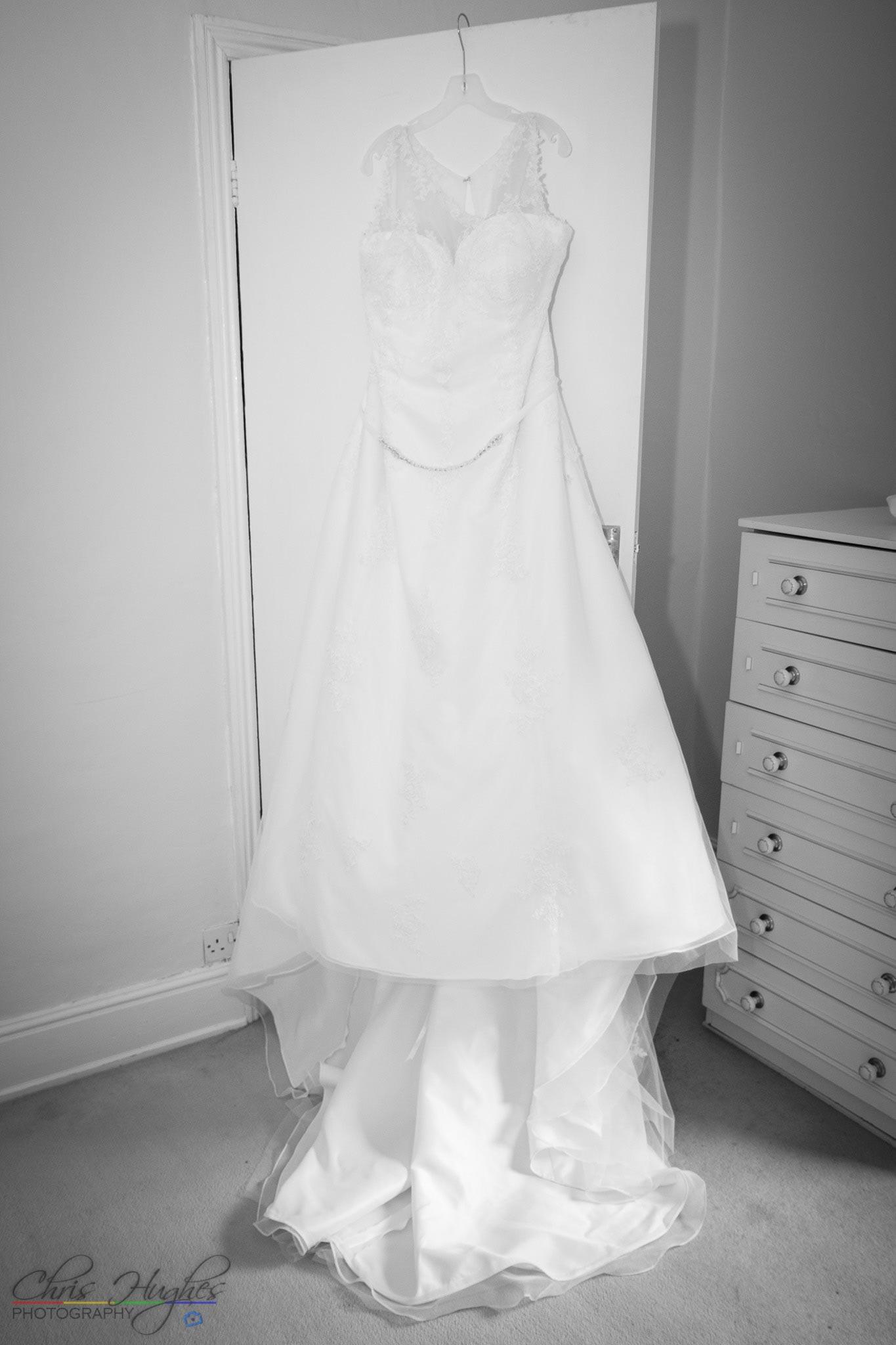 Wedding dress hung up, Paul & Faye Wedding Barnard Castle Registry Office