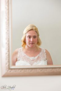 Bride looking on into the mirror, Paul & Faye Wedding Barnard Castle Registry Office