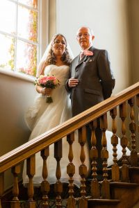 Bride on the stairs, Bowburn Hall