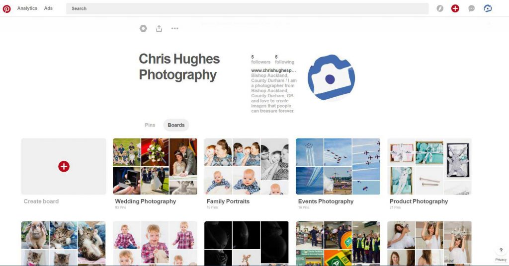 Pinterest - Chris Hughes Photography Boards